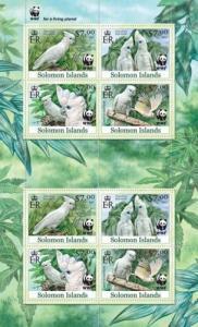 SOLOMON ISLANDS 2013 SHEET WWF WILDLIFE PARROTS PERROQUETS BIRDS slm13101a