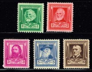 US STAMP #864-868 Famous Americans Series – Poets 1940 MNH/OG