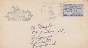 United States Nebraska Whitman 1945 4b-bar  5c United Nations to England.