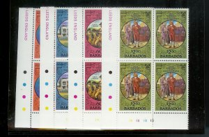 BARBADOS Sc#594-597 Complete Mint Never Hinged PLATE BLOCK Set
