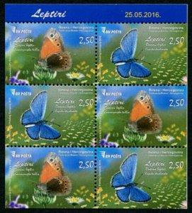 HERRICKSTAMP NEW ISSUES BOSNIA & HERZEGOVINA Sc.# 765c Butterflies Booklet Pane