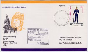 Colombia - United States, 1979, Lufthansa FDC, Bogota to New York with DC10