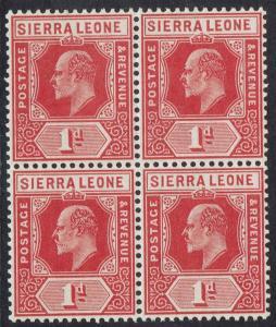 SIERRA LEONE 1907 KEVII 1D MNH ** BLOCK