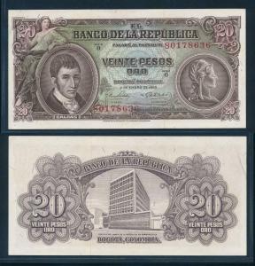 [96283] Colombia 1965 20 Pesos Oro Bank Note aUNC P401c