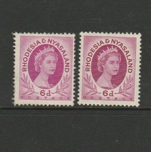 Rhodesia & Nyasaland 1954 6d Both listed shades UM/MNH SG 7 & 7a