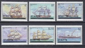 St. Kitts 38-43 MNH 1980 Various Ships Full Set Very Fine
