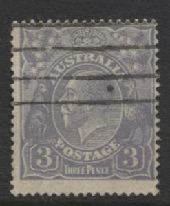 Australia - Scott 30 - KGV Head -1914 - FU - Wmk 9 - Die I -  3p Stamp2