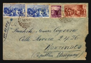 1947 italia Italy Air mail cover  to Uruguay