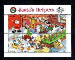 UGANDA - 1988 - DISNEY - CHRISTMAS - MICKEY - SANTA'S HELPERS - MINT NH SHEET!