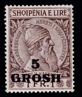 Albania 1914 Skanderbeg  5grsh on 1FR. Fine/VF/Mint(*)