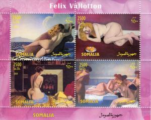 Somalia 2004 Felix Vallotton Famous Nudes Paintings Sheetlet (4) Perf.MNH
