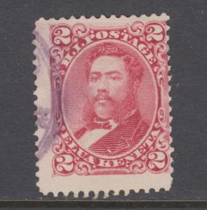 Hawaii Sc 38 used. 1882 2c rose King Kalakaua, fresh, sound