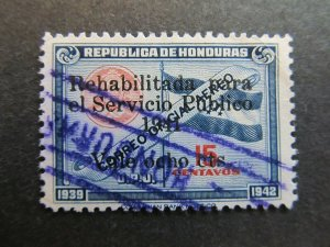 A4P11F17 Honduras Air Post Stamp 1941 surch 8c on 15c used