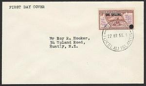 TOKELAU IS 1956 1/- OVERPRINT FDC, Nukunono cds.............................6618