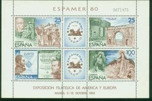 SPAIN 2219, ESPAMER PHILATELIC EXHIBITION, MADRID, 1980 SOUVENIR SHEET, MNH VF.