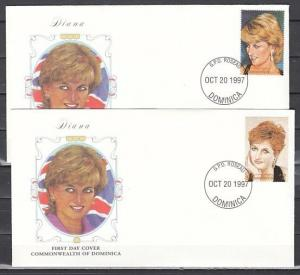 Dominica, Scott cat. 2010 B-C. Princess of Wales issue. 2 First day covers.