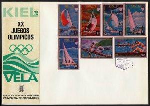 C27 Equatorial Guinea Oversized FDC 1972 Summer Olympics Sailing Kiel IMPERFS