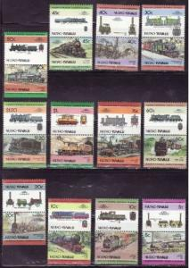 Tuvalu - Locomotives on Stamps - 12 Pairs of  Stamps 20J-004