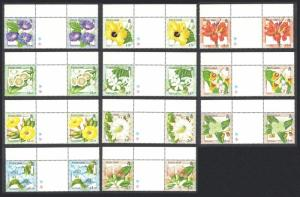 Pitcairn Flowers 11v Gutter Pairs SG#564-574 SC#512-523
