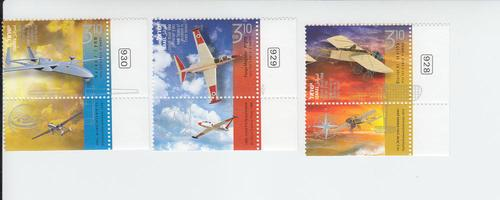 2013 Israel Aviation Tabbed (3) (Scott 1994-96) MNH