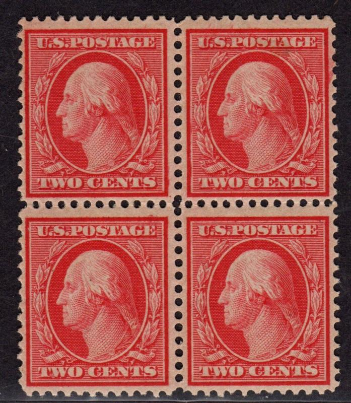 $US Sc#358 M/NH/F-VF, Blue Paper, block of 4 minor ink transfer on gum, Cv. $680