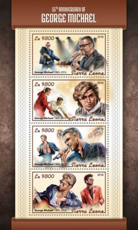 Sierra Leone - 2018 George Michael - 4 Stamp Sheet - SRL18114a