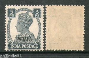 India PATIALA State 3ps KG VI SG 103 / Sc 102 Postage Stamp Cat £4 MNH