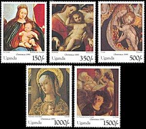 Uganda 1378-1382, MNH, Christmas 1995, Madonna and Child Paintings