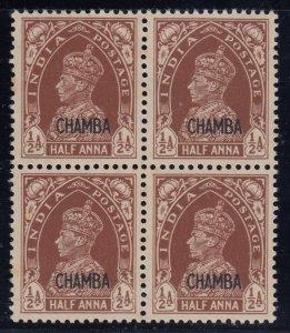 India (Chamba), SG 100, MNH block of four