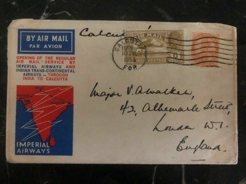 1933 Calcutta India to London England First Flight Cover FFC Imperial Airways B