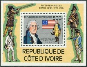 Ivory Coast 426,MNH.Michel 502 Bl.6. USA-200,1976.George Washington,Flag.