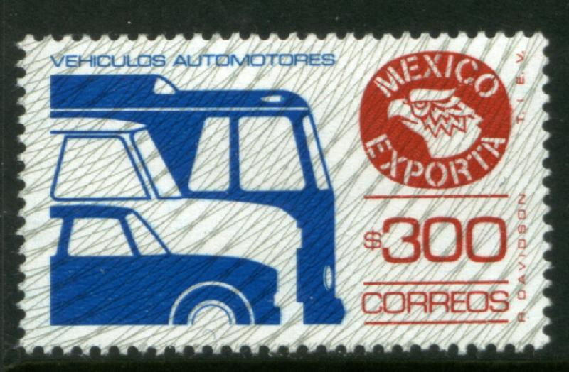 MEXICO Exporta 1136 $300P Cars/Buses Fluor Paper 6 MNH