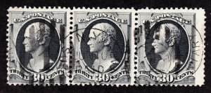 US 165 30c Hamilton Used Strip of 3 w/ NY Supplementary Mail Cancels SCV $475