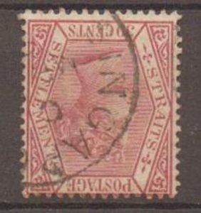 MALAYA STRAITS SETTLEMENTS SG69w 1891 30c CLARET WMK INV USED