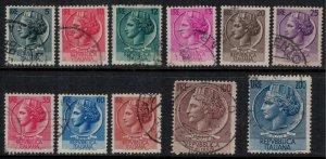 Italy #626-33, 61-2  CV $10.80  First Italia definitives issue