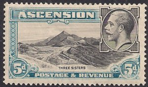 Ascension Island 1934 KGV 5d Three Sisters MM SG 26 ( F1030 )
