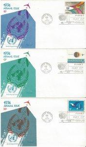 United Nations C19-21  FDC  Airmail  Fleetwood Cachet
