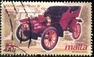 Automobile, 1904 Cadillac Model B, Malta stamp SC#1110 used