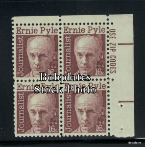BOBPLATES #1398 Pyle Lower Right Zip Block F-VF NH SCV=$1.5
