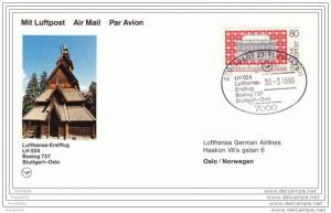 Germany - Norway 1986, Lufthansa First Flight, Stuttgart to Oslo with B737