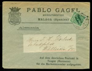 GERMAN COLONIES OFFICES IN MOROCCO 1900, cover tied TANGIER to WEHLHEIDEN