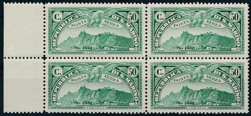 [I2180] San Marino 1931 Airmail good bloc of 4 stamps very fine MNH $240