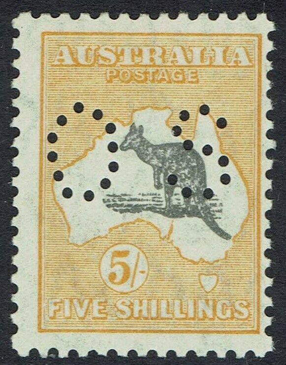 AUSTRALIA 1929 KANGAROO OS 5/- SMALL MULTIPLE WMK