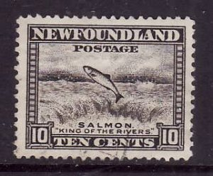 Newfoundland-Sc#260-used 10c brownish black Salmon-1941-44-Nwf418-