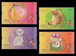 Hong Kong Lunar New Year Monkey stamp set MNH 2016