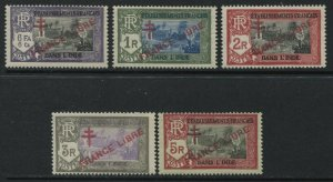 French India 5 overprinted FRANCE LIBRE values to 5R mint o.g.