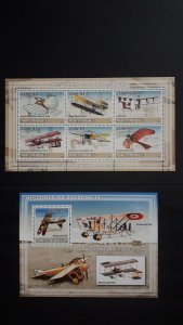 Airplanes - History of Aviation 2 - Mozambique 2009 - Complete SS + Bl ** MNH