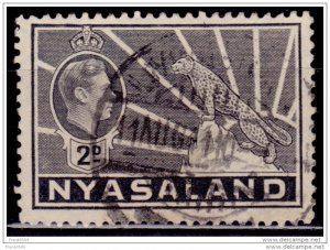 Nyasaland 1938-44, KGVI and Leopard, 2p, sc#57, used