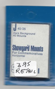 SHOWGARD MOUNT J,  40 MM X 25 MM, NEW & UNOPENED, RETAIL $3.95