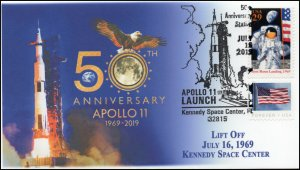 19-201, 2019, Moon Landing, Pictorial Postmark, Event Cover, Apollo 11, St Louis